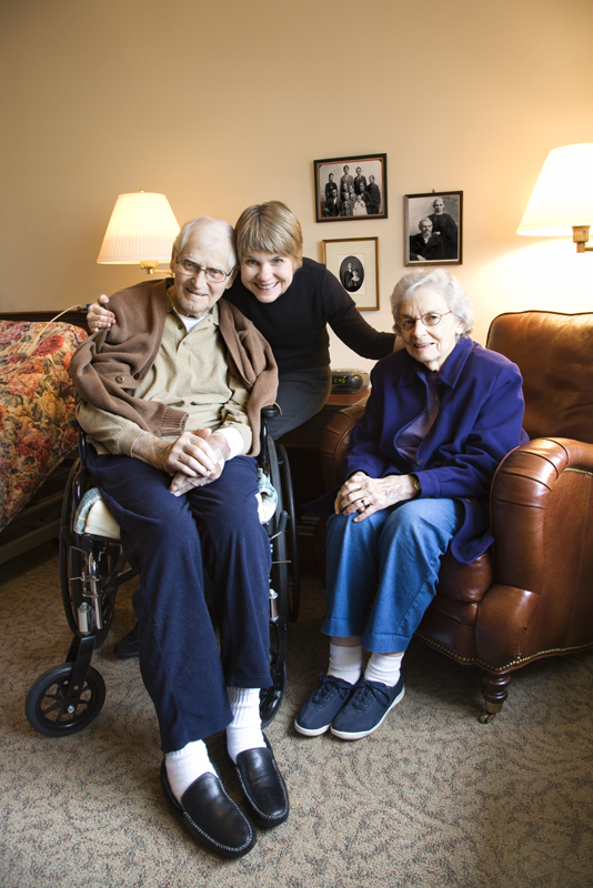 Daughter with elderly parents. Conservator of parents in Minnesota.